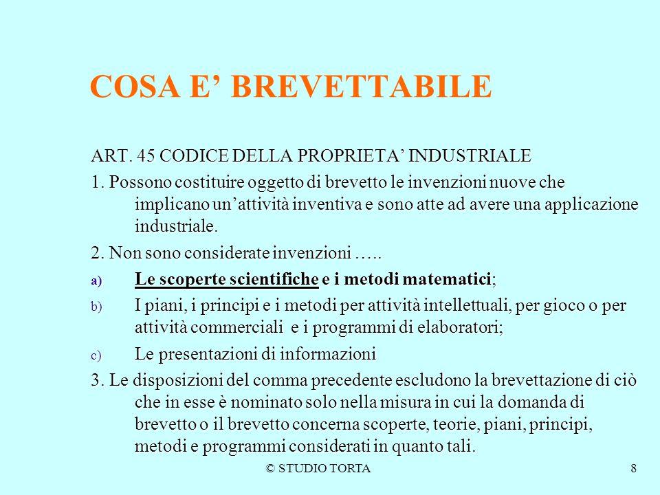 COSA E' BREVETTABILE ART. 45 CODICE DELLA PROPRIETA' INDUSTRIALE