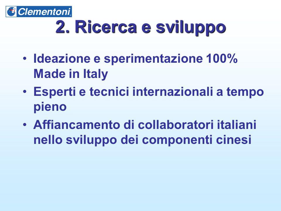 2. Ricerca e sviluppo Ideazione e sperimentazione 100% Made in Italy