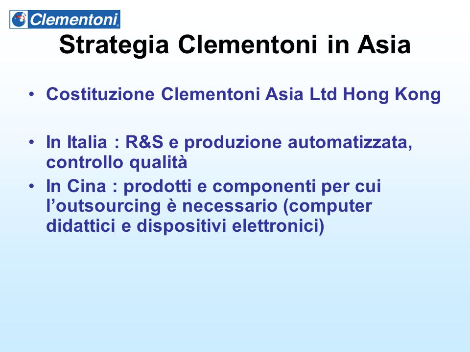Strategia Clementoni in Asia
