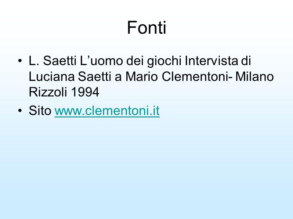 Fonti L. Saetti L'uomo dei giochi Intervista di Luciana Saetti a Mario Clementoni- Milano Rizzoli 1994.