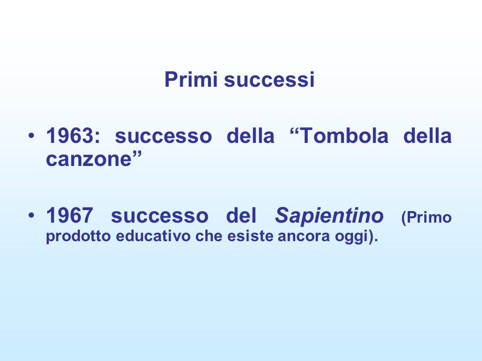 Primi successi 1963: successo della Tombola della canzone 1967 successo del Sapientino (Primo prodotto educativo che esiste ancora oggi).