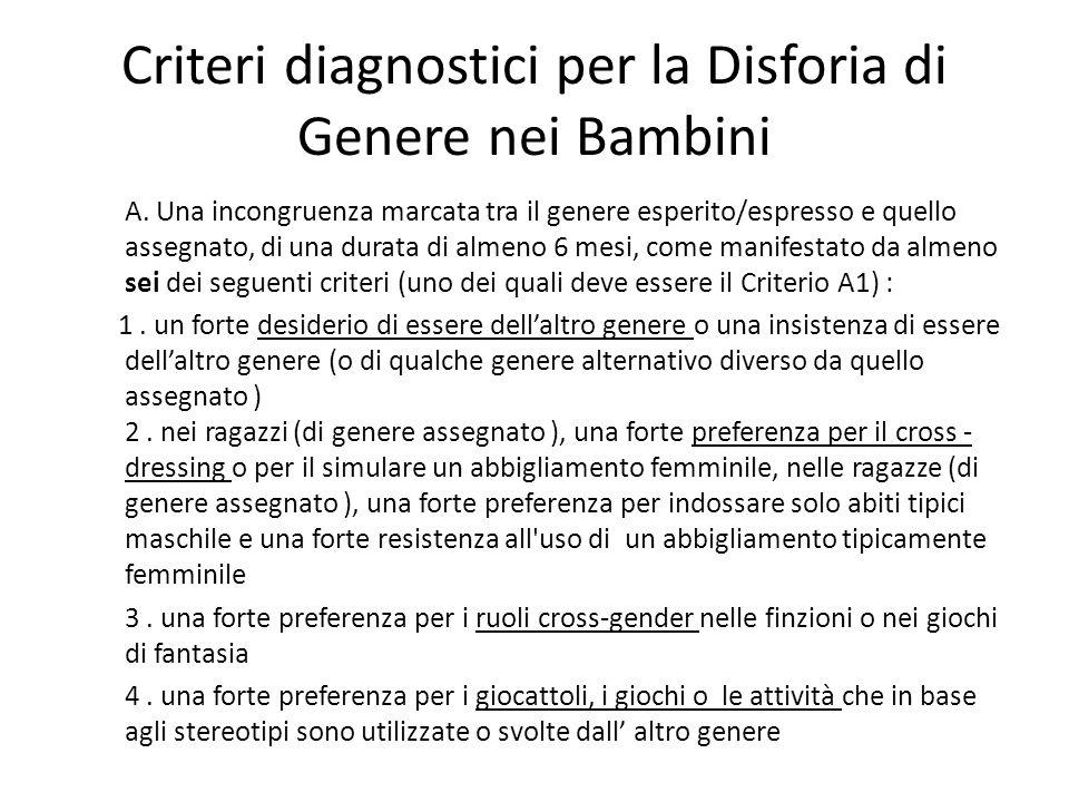 Criteri diagnostici per la Disforia di Genere nei Bambini