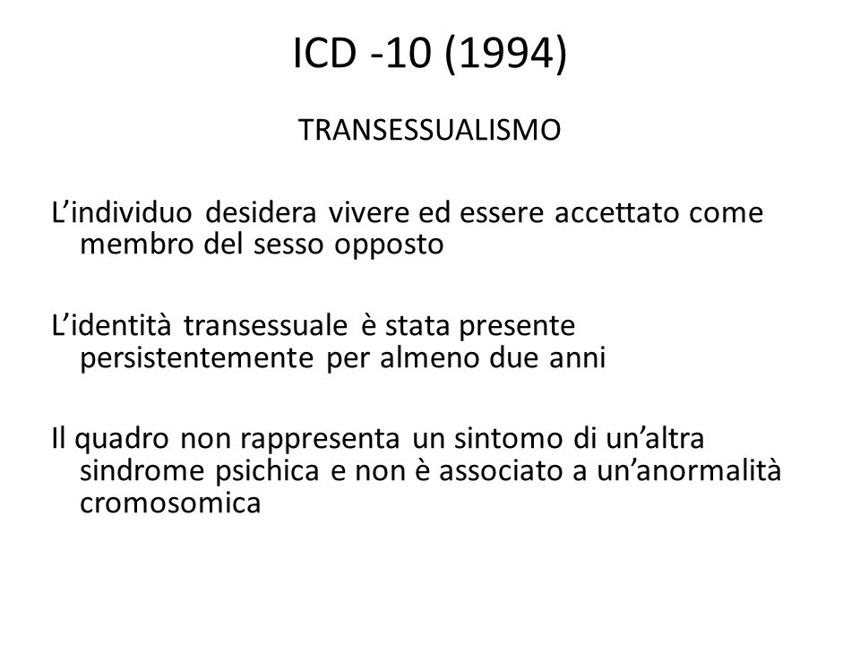 ICD -10 (1994) TRANSESSUALISMO