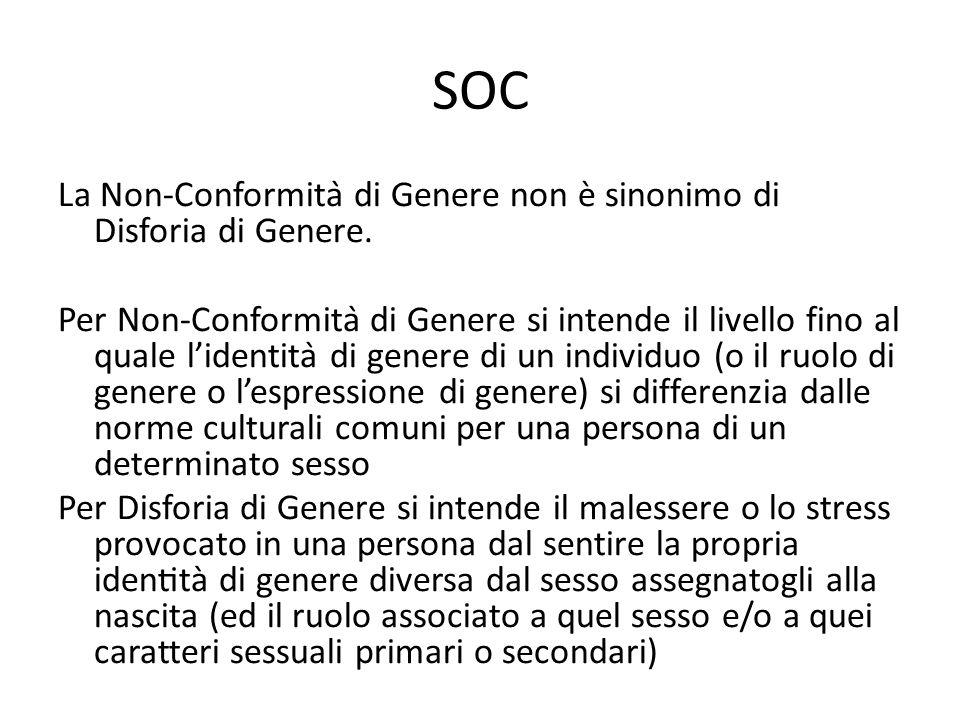 SOC La Non-Conformità di Genere non è sinonimo di Disforia di Genere.