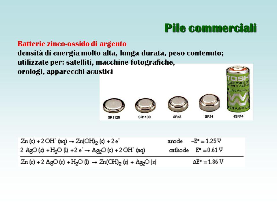 Pile commerciali Batterie zinco-ossido di argento
