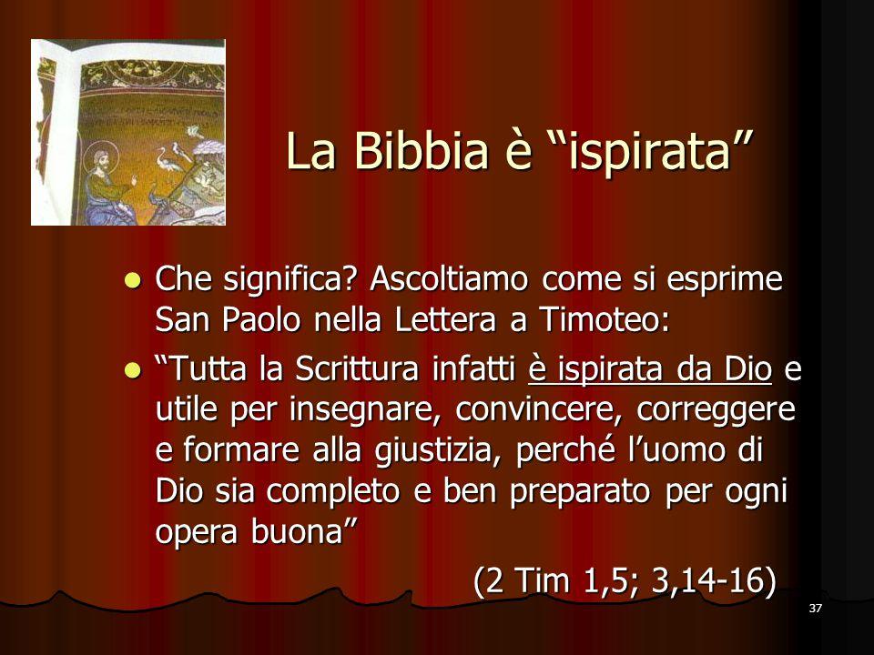 La Bibbia è ispirata Che significa Ascoltiamo come si esprime San Paolo nella Lettera a Timoteo: