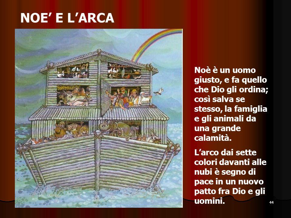 NOE' E L'ARCA Noè è un uomo giusto, e fa quello che Dio gli ordina; così salva se stesso, la famiglia e gli animali da una grande calamità.