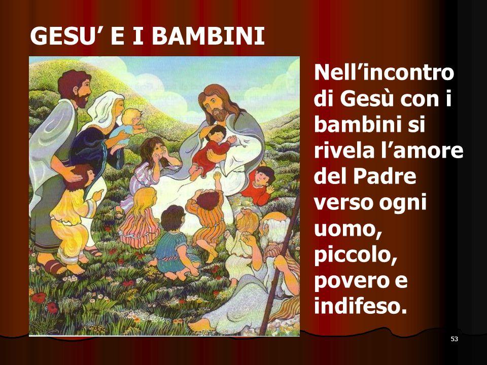 GESU' E I BAMBINI Nell'incontro di Gesù con i bambini si rivela l'amore del Padre verso ogni uomo, piccolo, povero e indifeso.