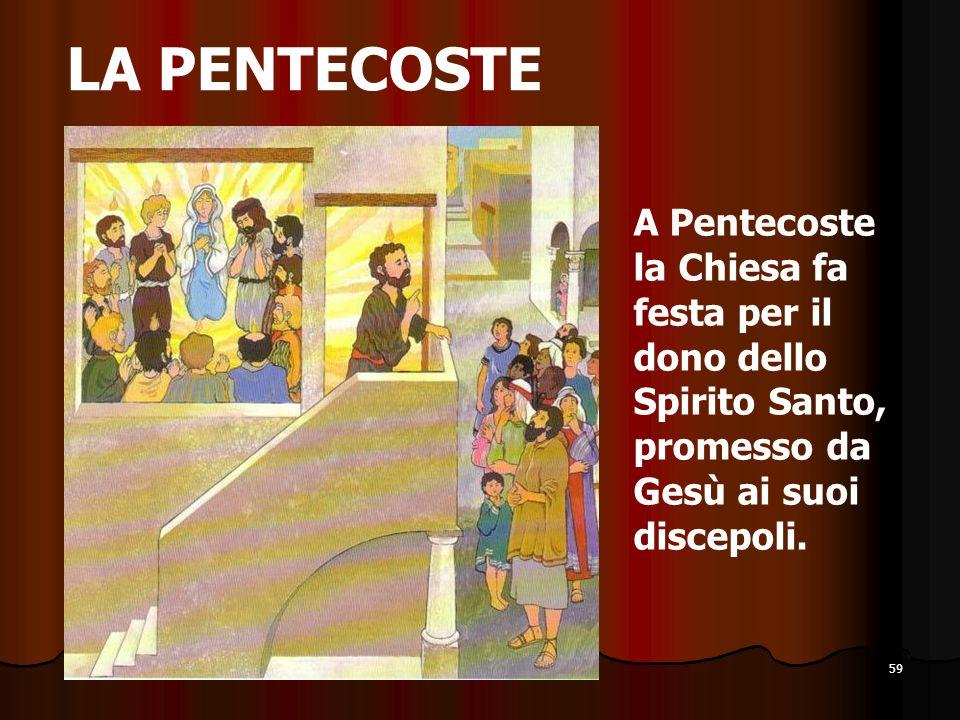 LA PENTECOSTE A Pentecoste la Chiesa fa festa per il dono dello Spirito Santo, promesso da Gesù ai suoi discepoli.