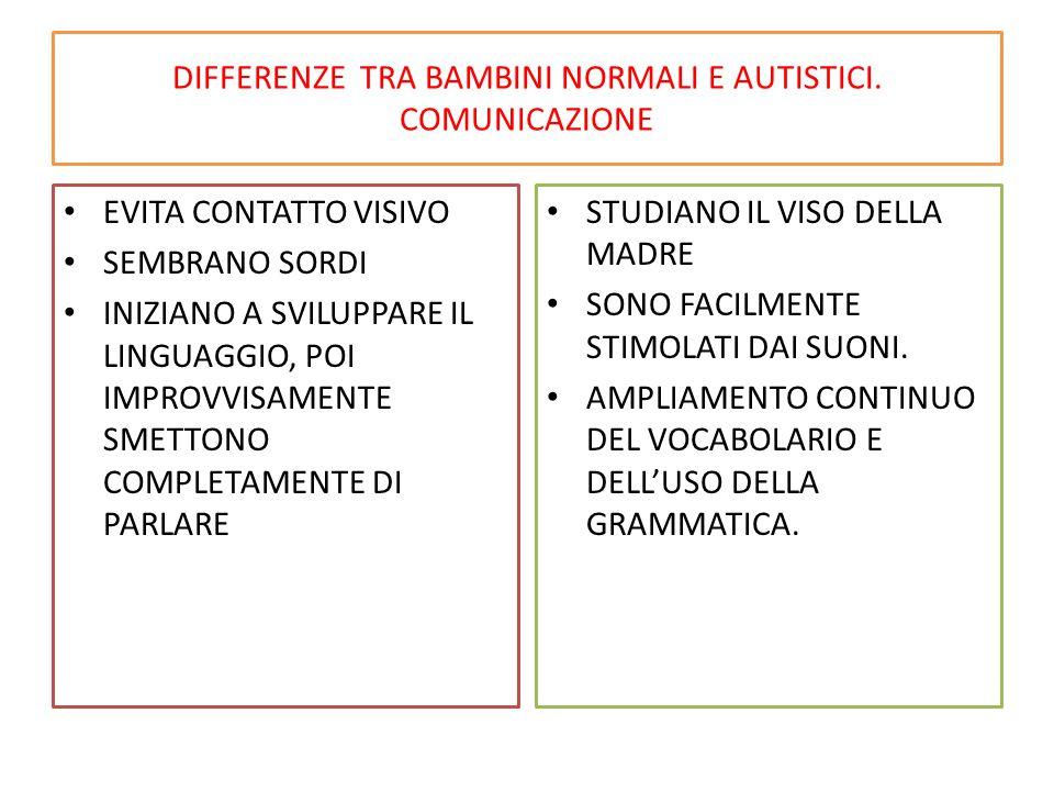 DIFFERENZE TRA BAMBINI NORMALI E AUTISTICI. COMUNICAZIONE
