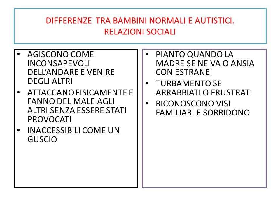 DIFFERENZE TRA BAMBINI NORMALI E AUTISTICI. RELAZIONI SOCIALI