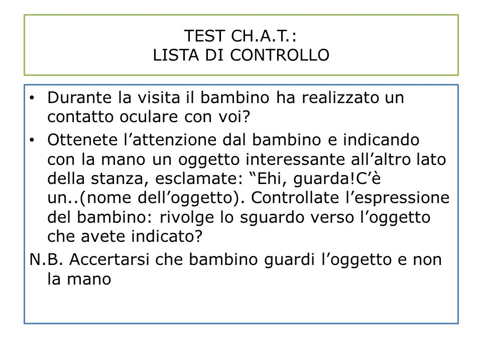 TEST CH.A.T.: LISTA DI CONTROLLO