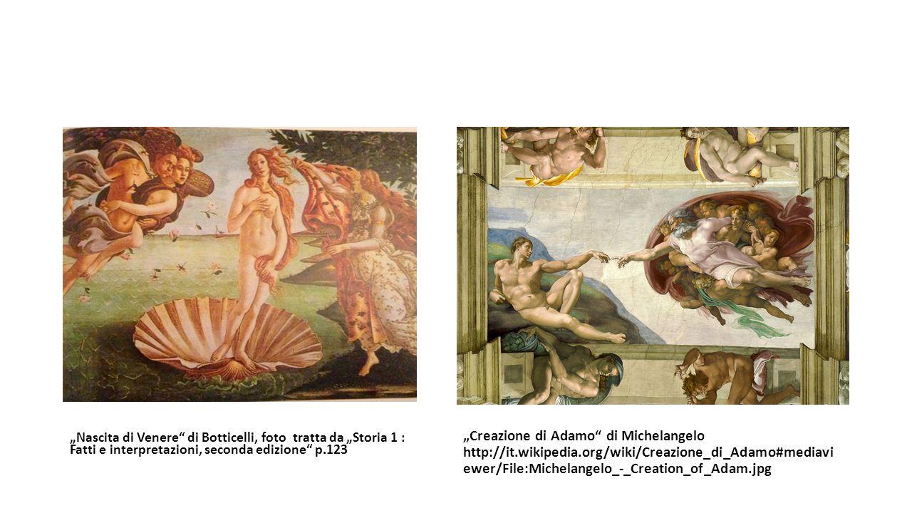"""""""Nascita di Venere di Botticelli, foto tratta da """"Storia 1 : Fatti e interpretazioni, seconda edizione p.123"""