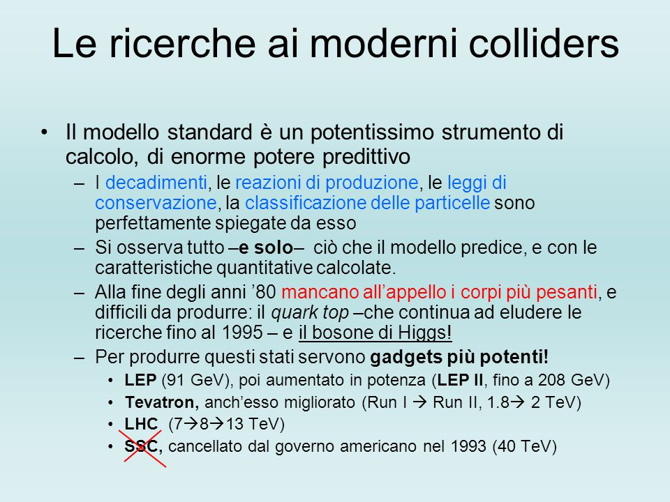 Le ricerche ai moderni colliders