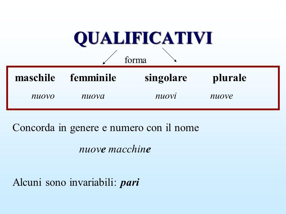 QUALIFICATIVI maschile femminile singolare plurale