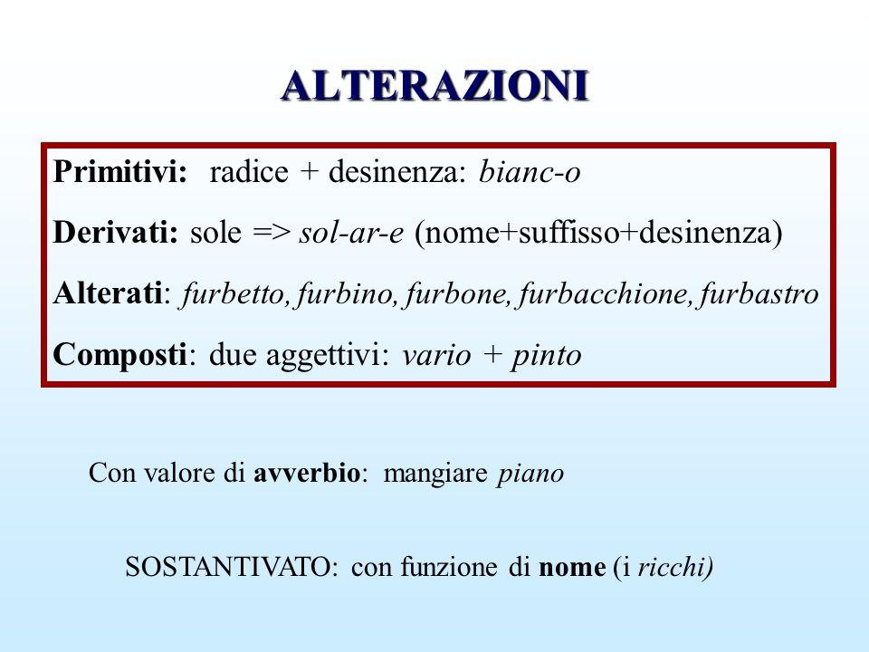 ALTERAZIONI Primitivi: radice + desinenza: bianc-o