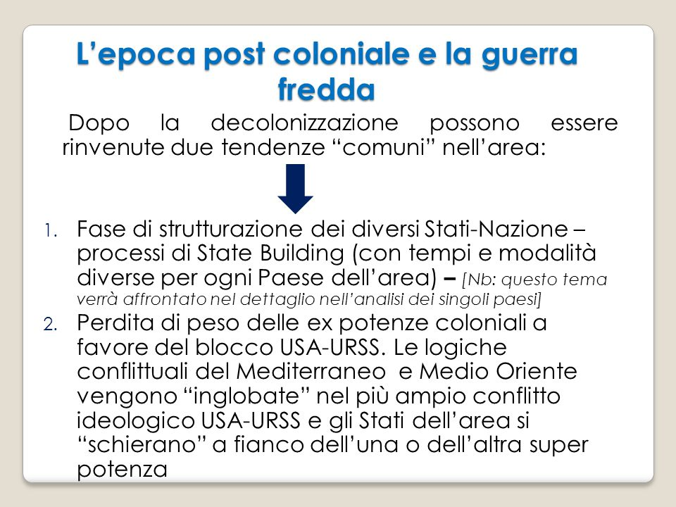 L'epoca post coloniale e la guerra fredda