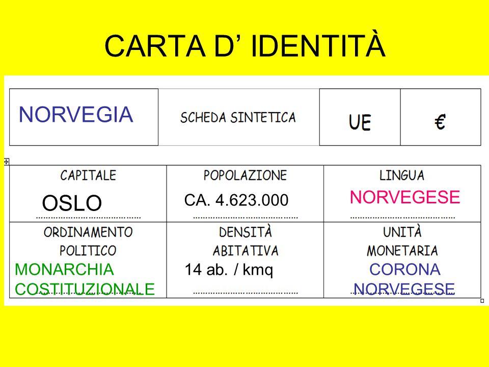 CARTA D' IDENTITÀ NORVEGIA OSLO NORVEGESE CA. 4.623.000