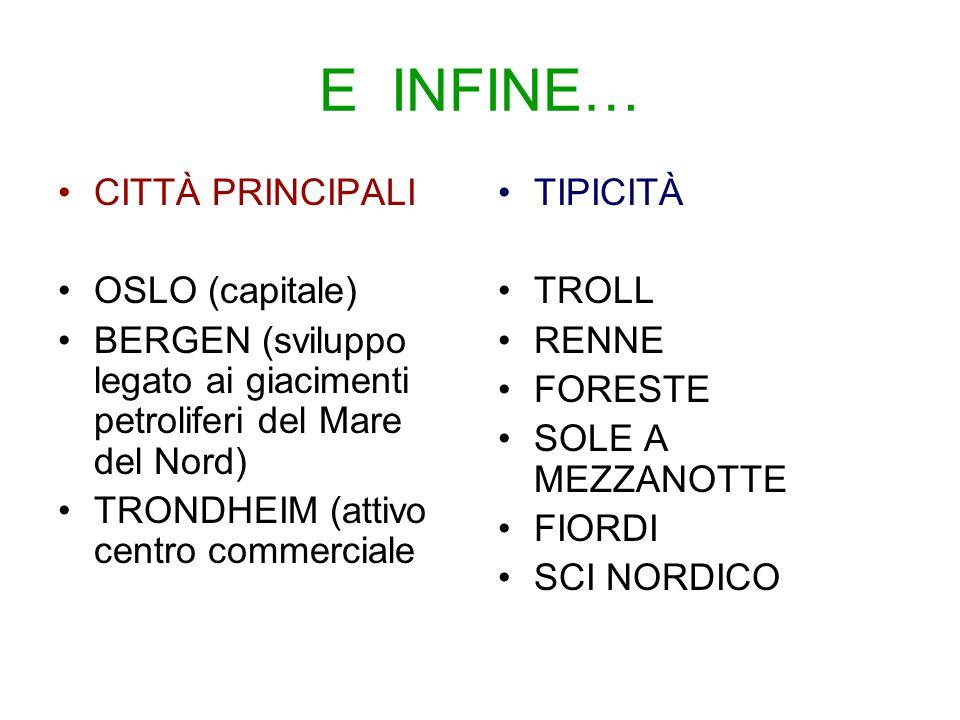 E INFINE… CITTÀ PRINCIPALI OSLO (capitale)