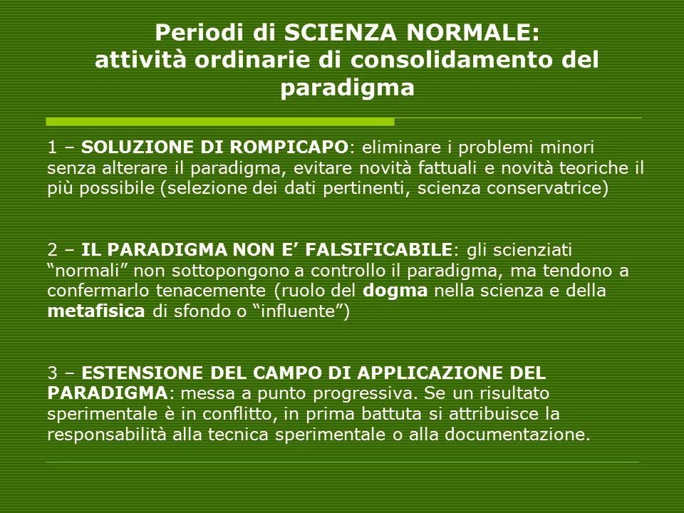 Periodi di SCIENZA NORMALE: attività ordinarie di consolidamento del paradigma