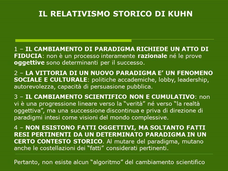 IL RELATIVISMO STORICO DI KUHN