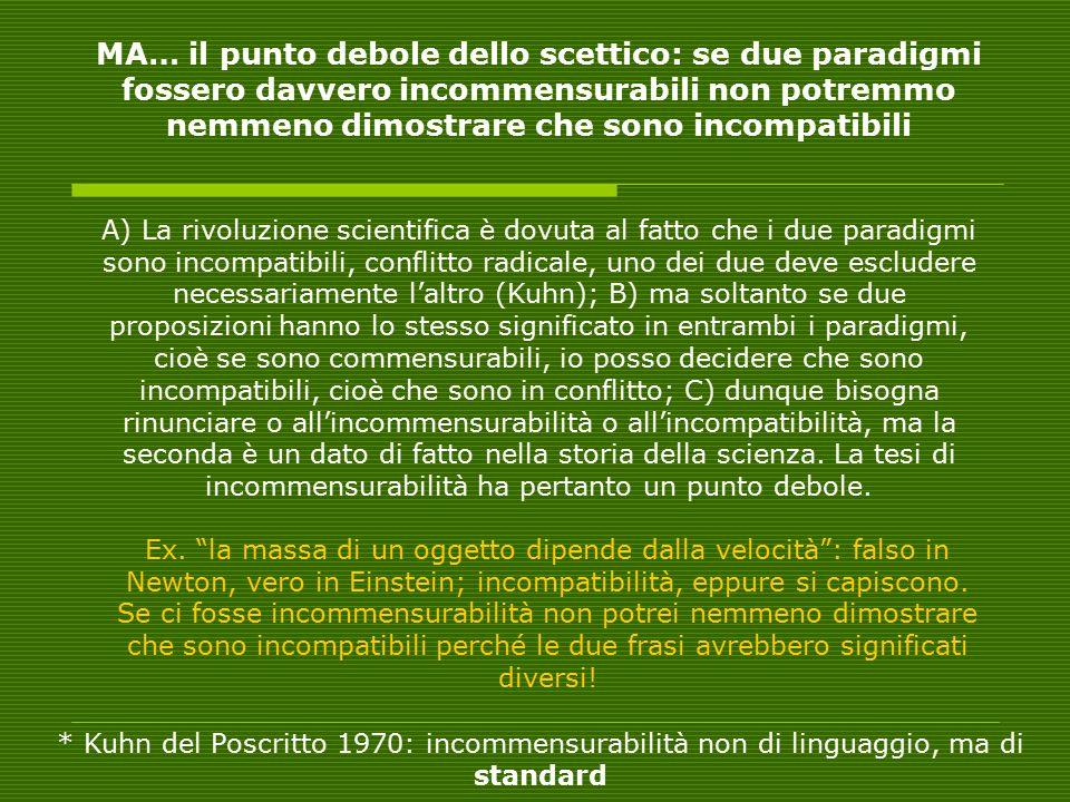 MA… il punto debole dello scettico: se due paradigmi fossero davvero incommensurabili non potremmo nemmeno dimostrare che sono incompatibili