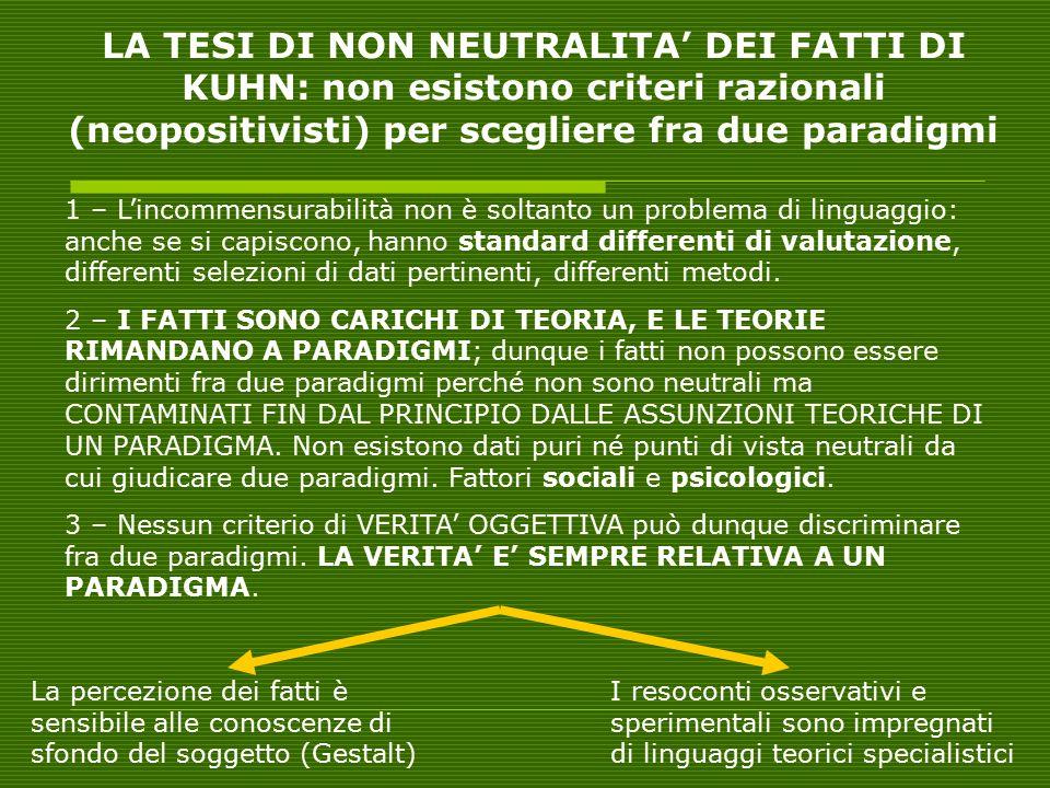 LA TESI DI NON NEUTRALITA' DEI FATTI DI KUHN: non esistono criteri razionali (neopositivisti) per scegliere fra due paradigmi
