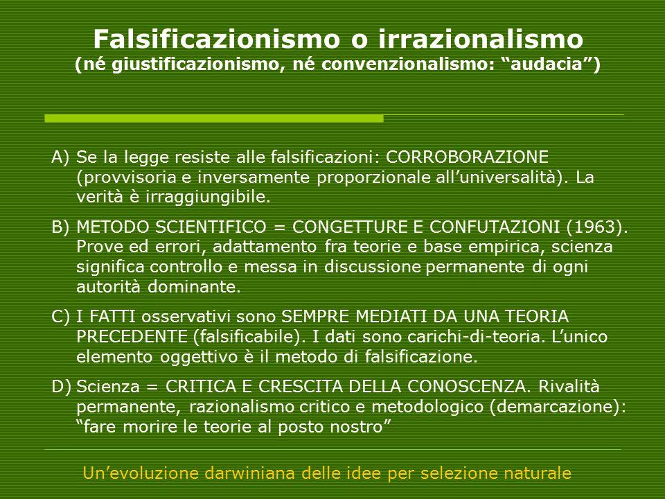 Falsificazionismo o irrazionalismo (né giustificazionismo, né convenzionalismo: audacia )