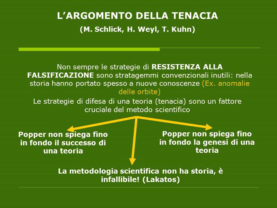 L'ARGOMENTO DELLA TENACIA