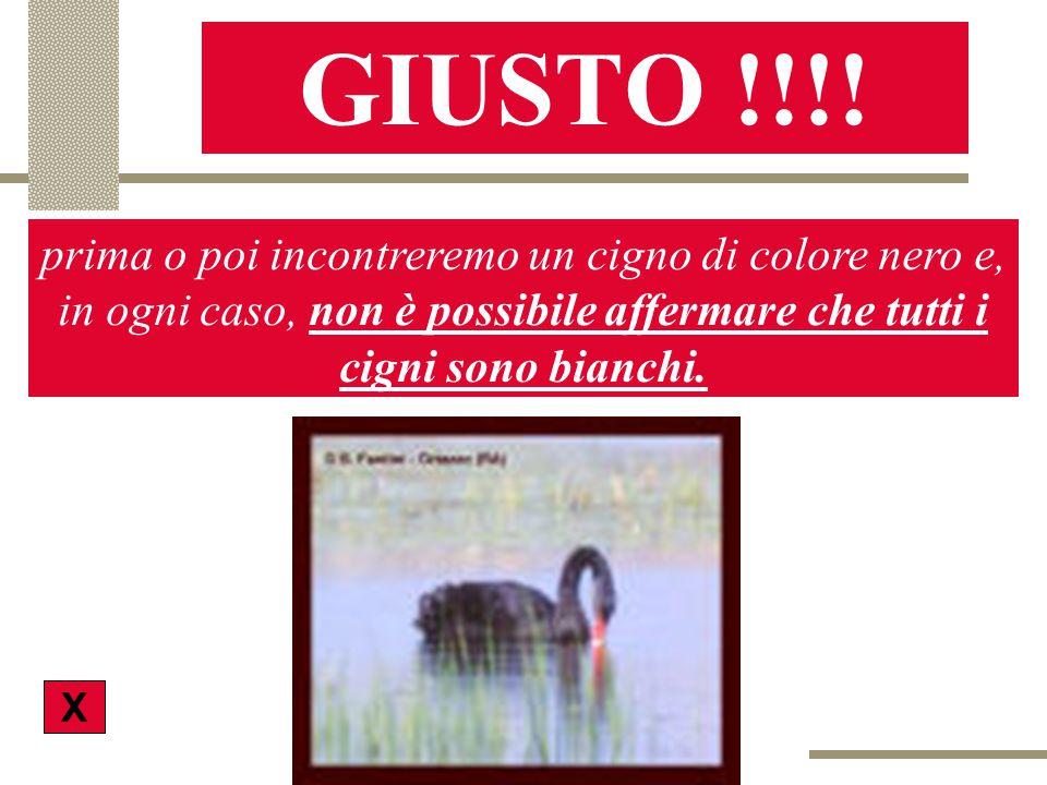 GIUSTO !!!! prima o poi incontreremo un cigno di colore nero e, in ogni caso, non è possibile affermare che tutti i cigni sono bianchi.