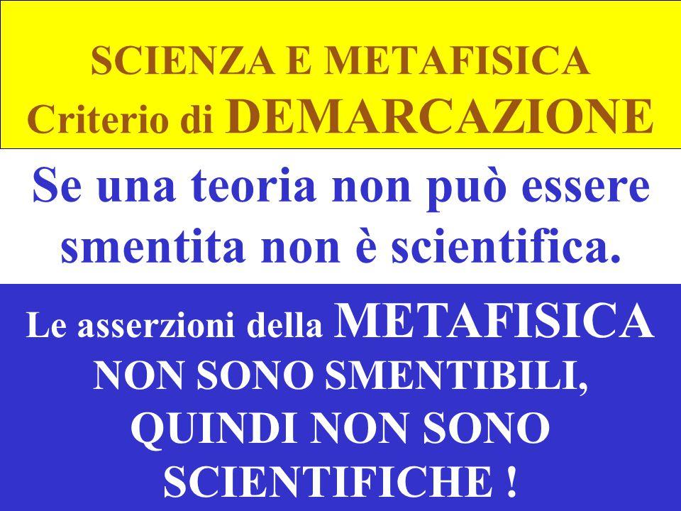 SCIENZA E METAFISICA Criterio di DEMARCAZIONE