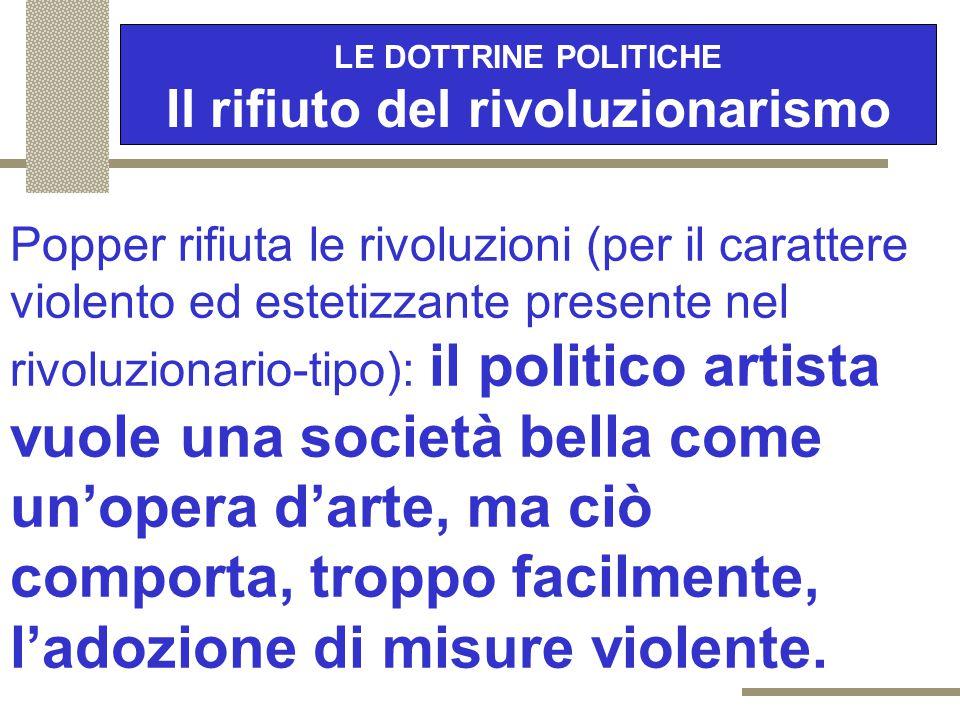 LE DOTTRINE POLITICHE Il rifiuto del rivoluzionarismo