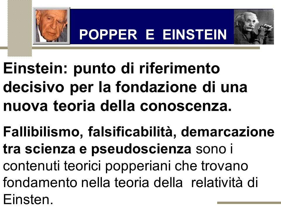 POPPER E EINSTEIN Einstein: punto di riferimento decisivo per la fondazione di una nuova teoria della conoscenza.