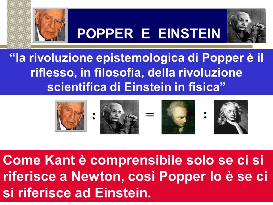 POPPER E EINSTEIN la rivoluzione epistemologica di Popper è il riflesso, in filosofia, della rivoluzione scientifica di Einstein in fisica