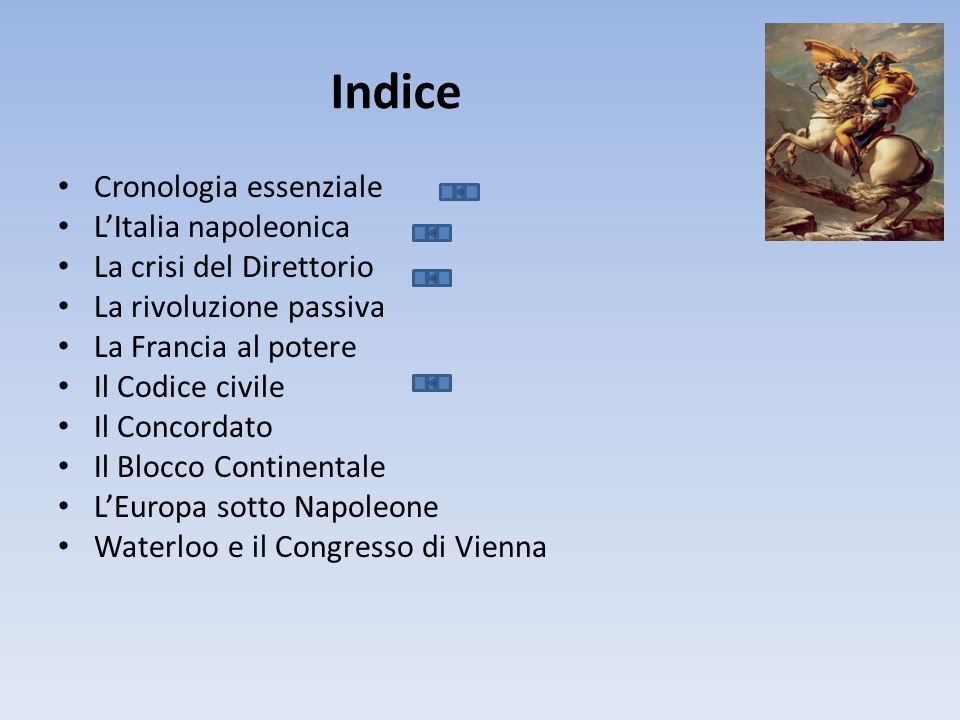 Indice Cronologia essenziale L'Italia napoleonica