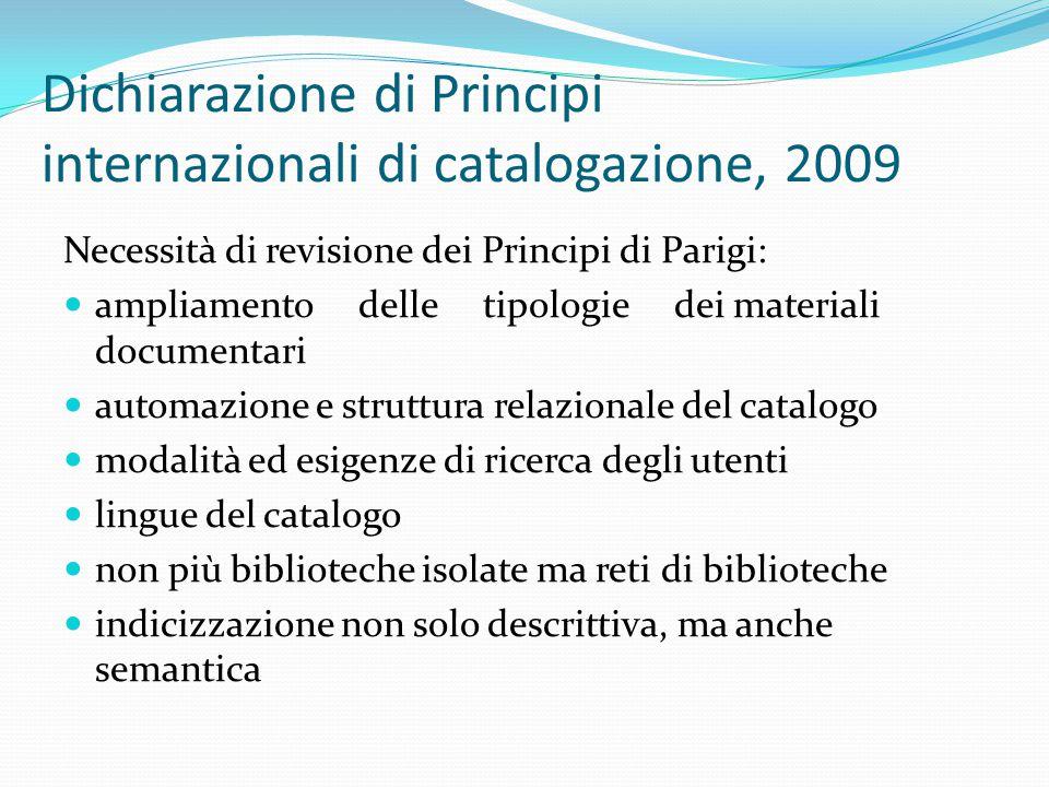 Dichiarazione di Principi internazionali di catalogazione, 2009