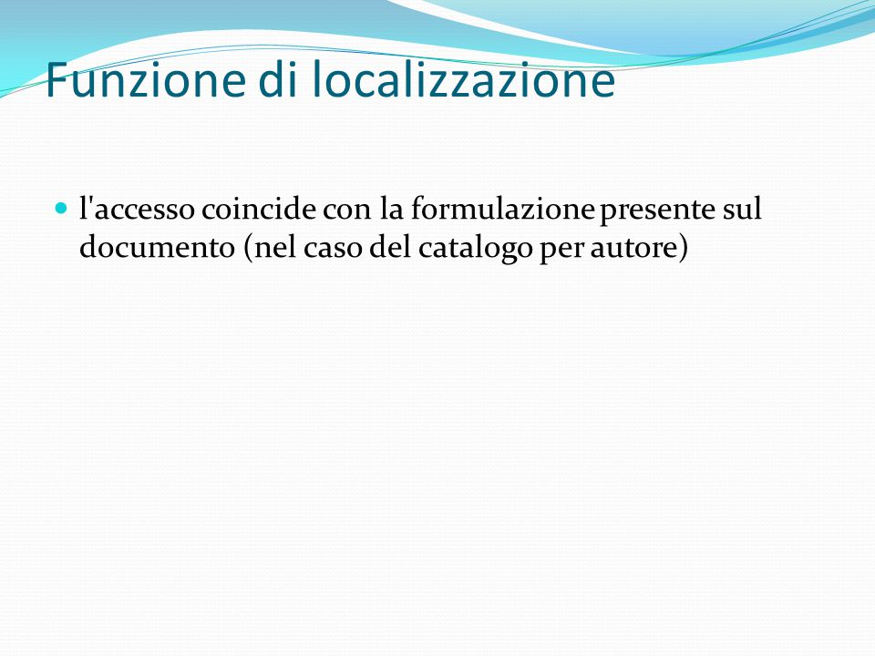 Funzione di localizzazione