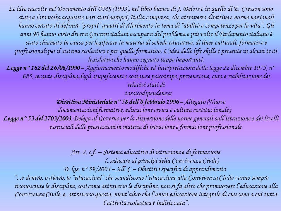 Direttiva Ministeriale n° 58 dell'8 febbraio 1996 – Allegato (Nuove