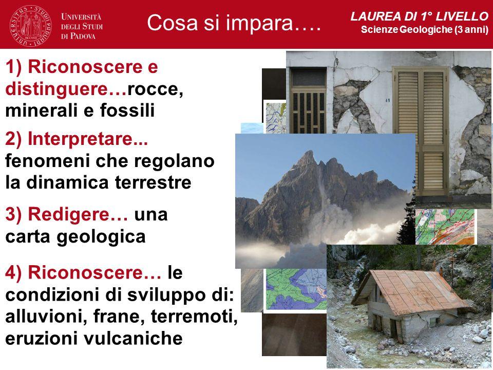LAUREA DI 1° LIVELLO Scienze Geologiche (3 anni) Cosa si impara…. 1) Riconoscere e distinguere…rocce, minerali e fossili.