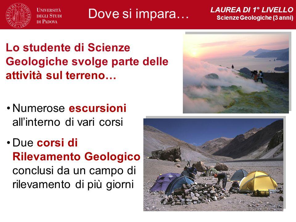 LAUREA DI 1° LIVELLO Scienze Geologiche (3 anni) Dove si impara… Lo studente di Scienze Geologiche svolge parte delle attività sul terreno…