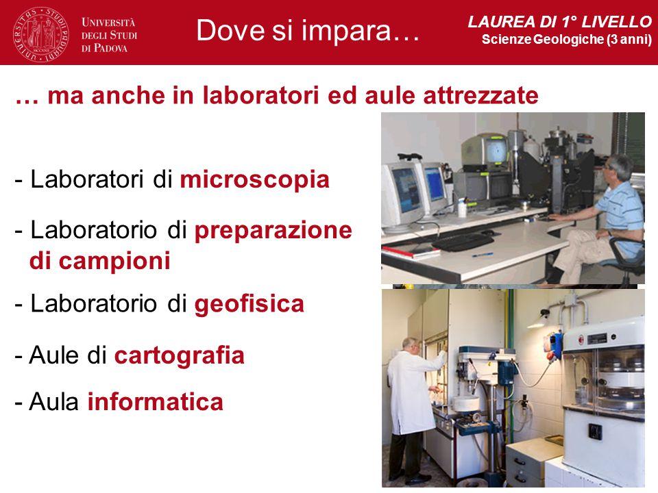 Dove si impara… … ma anche in laboratori ed aule attrezzate