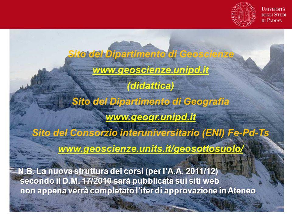 Sito del Dipartimento di Geoscienze www.geoscienze.unipd.it