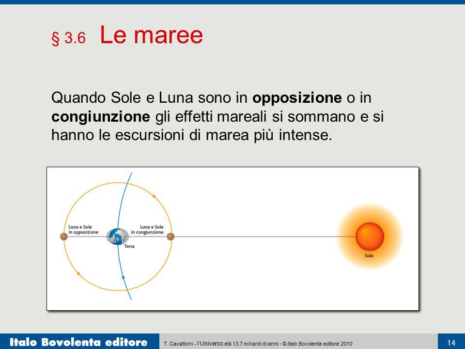 § 3.6 Le maree Quando Sole e Luna sono in opposizione o in congiunzione gli effetti mareali si sommano e si hanno le escursioni di marea più intense.