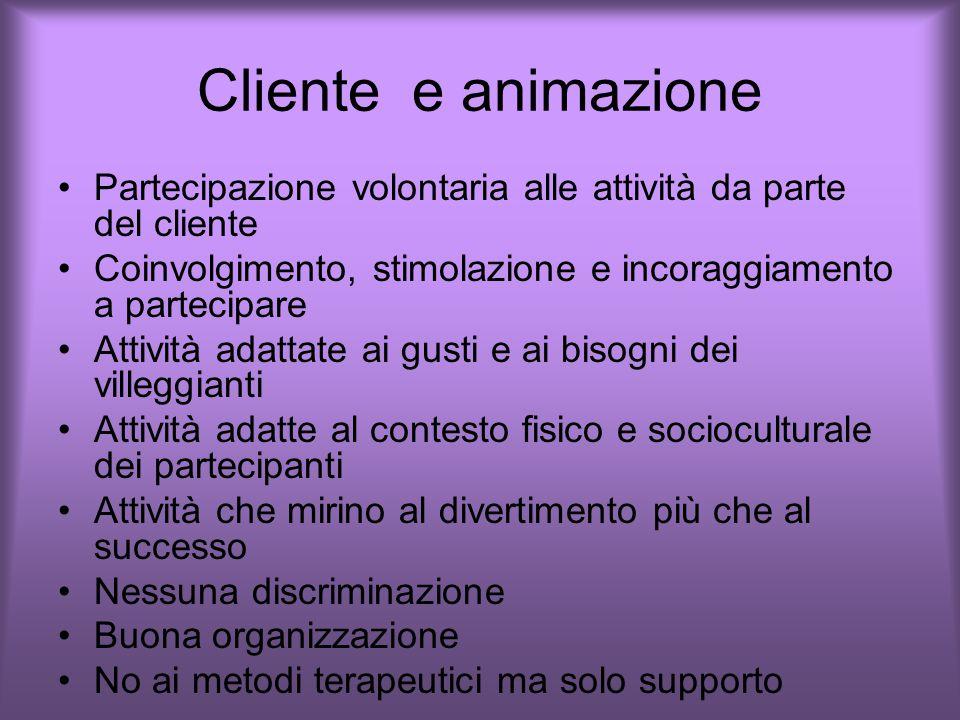 Cliente e animazione Partecipazione volontaria alle attività da parte del cliente. Coinvolgimento, stimolazione e incoraggiamento a partecipare.