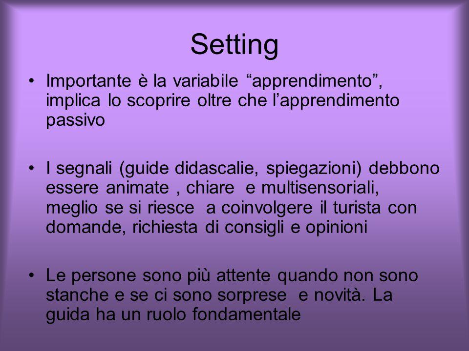Setting Importante è la variabile apprendimento , implica lo scoprire oltre che l'apprendimento passivo.