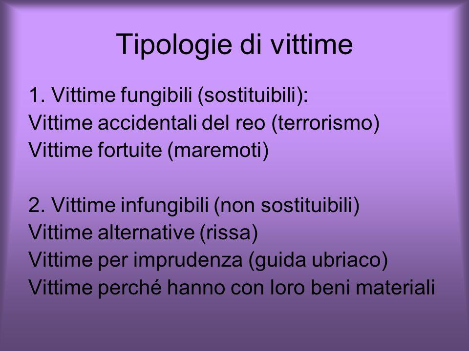 Tipologie di vittime 1. Vittime fungibili (sostituibili):