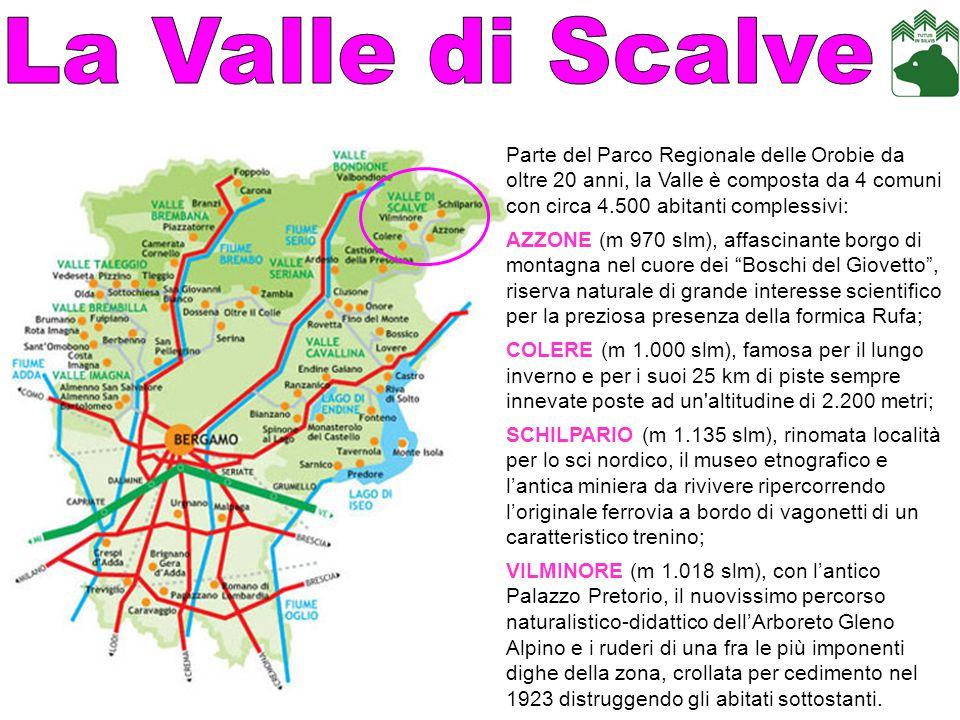 La Valle di Scalve Parte del Parco Regionale delle Orobie da oltre 20 anni, la Valle è composta da 4 comuni con circa 4.500 abitanti complessivi: