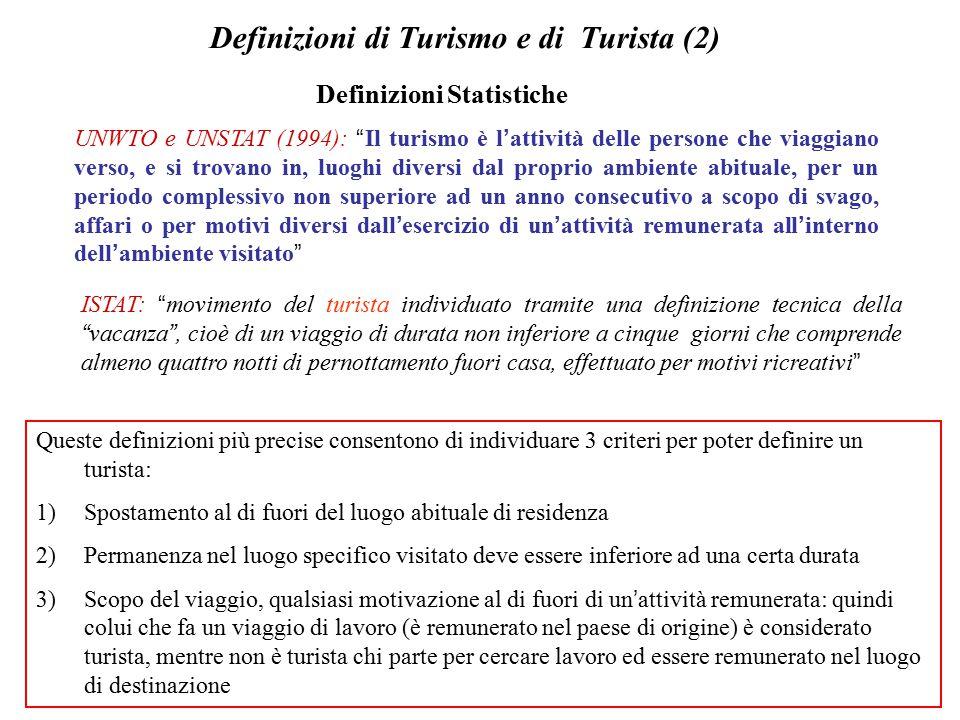 Definizioni di Turismo e di Turista (2)