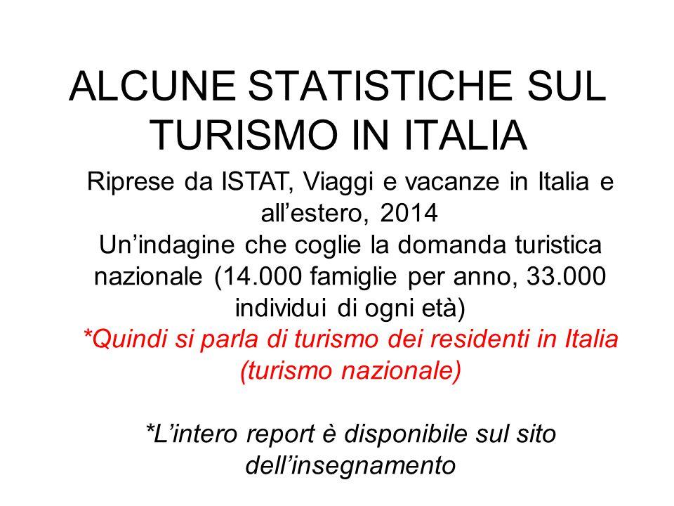 ALCUNE STATISTICHE SUL TURISMO IN ITALIA
