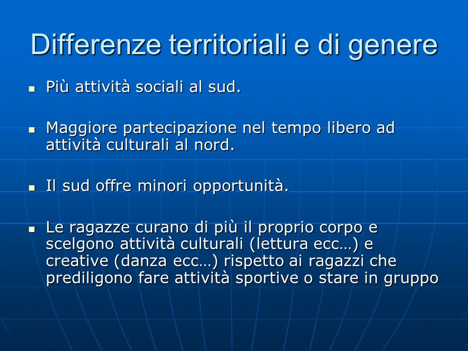 Differenze territoriali e di genere